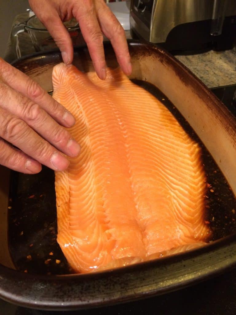 curing salmon in brine