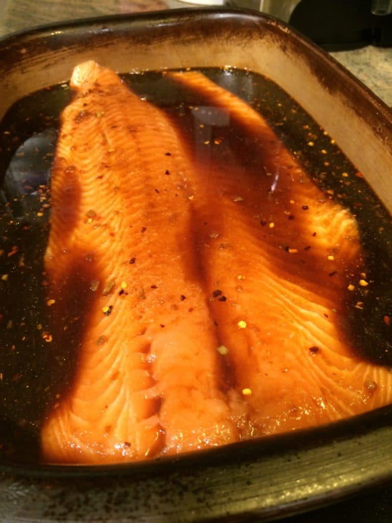 raw salmon in smoked salmon brine
