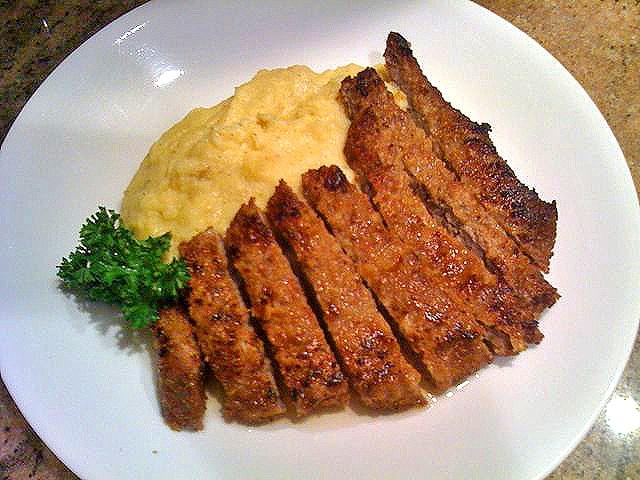 Lemon Chicken Fried Steak with Polenta