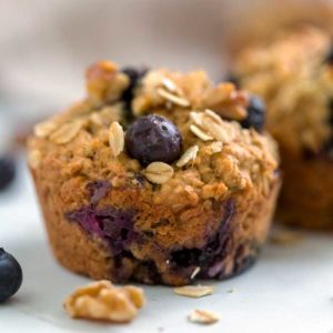 A close up of a Blueberry Oat Muffin