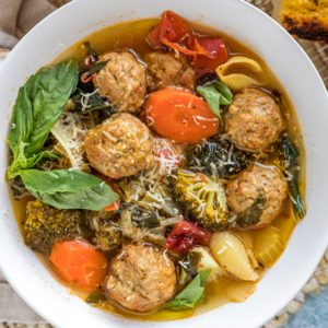 A bowl of Meatball and vegetable Soup
