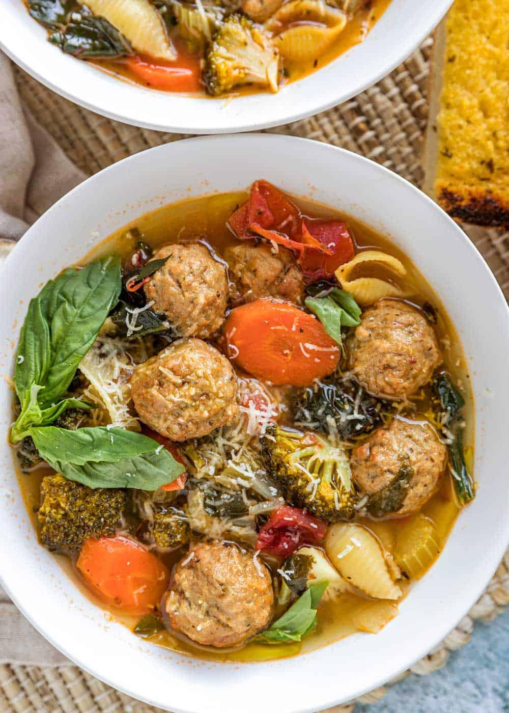 overhead closeup of italian meatball soup
