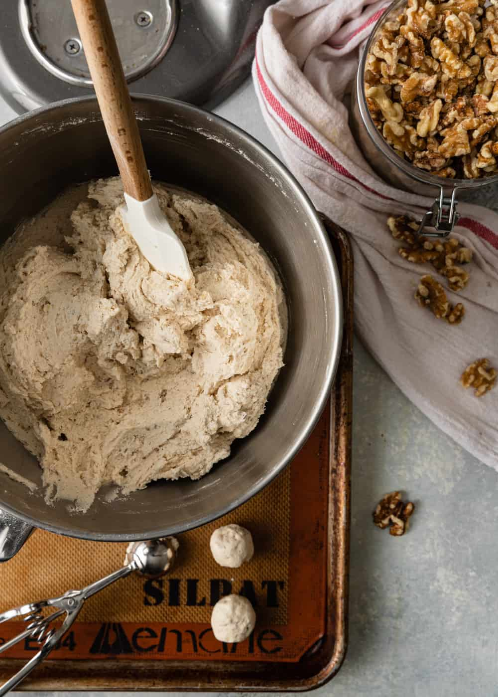 cookie dough with walnuts