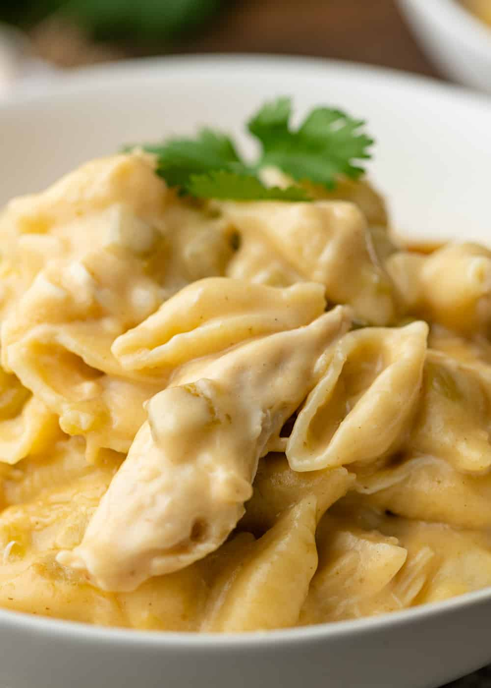 close up of Green Chili Chicken Pasta in a white bowl