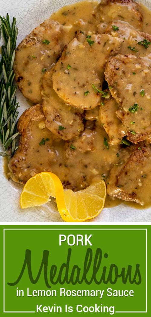 This Lemon, Rosemary Pork Medallions recipe uses sliced pork tenderloin seasoned and dusted with flour, then sautéed with a simple lemon and rosemary sauce.  #pork #lemon #medallions