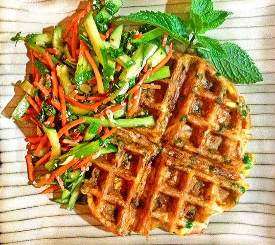 Thai Shrimp Waffle with Spring Salad