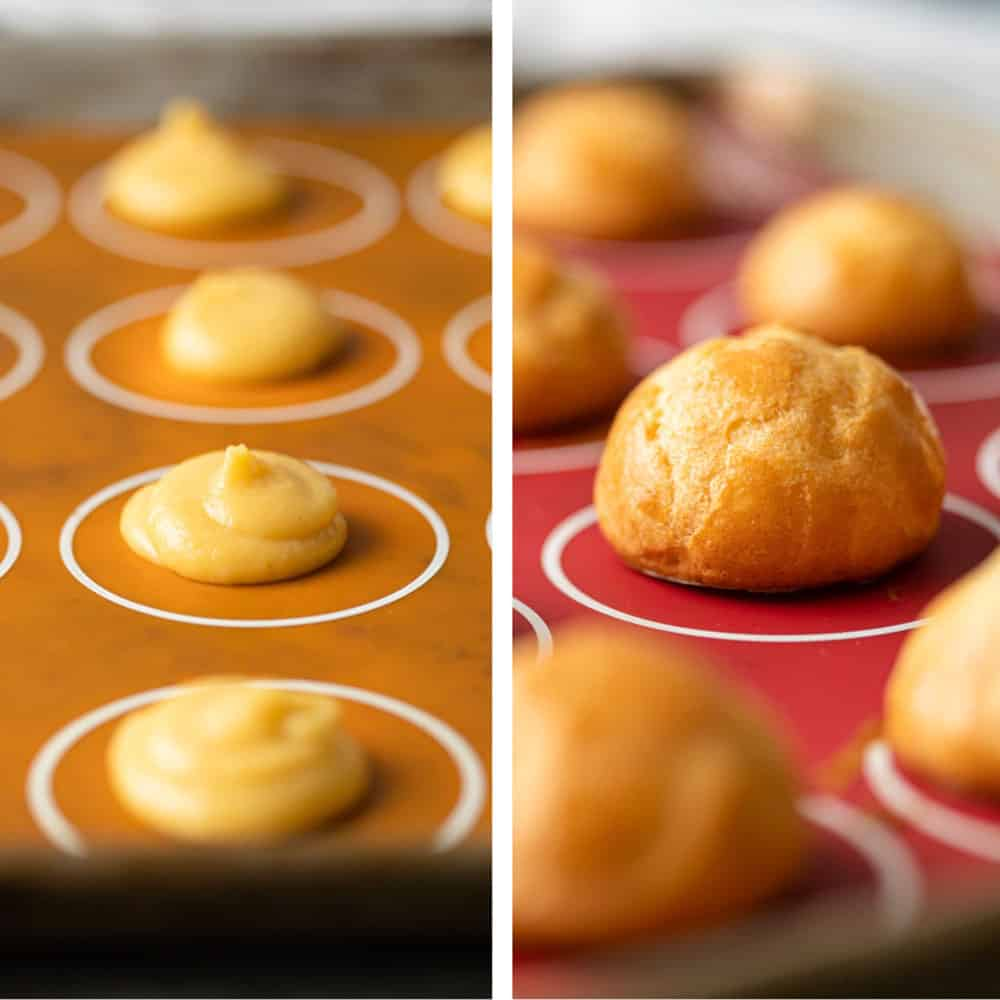 photo collage: on left, choux pastry batter on silicone baking mat. On right: finished Gruyere puffs