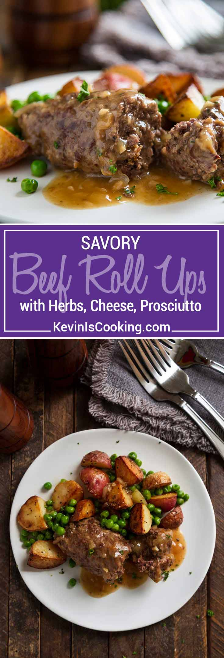 Beef Roll Ups - Top round steak gets pounded thin, spread with an herb and cheese paste, prosciutto, rolled and sautéed - so delicious. Sauce is amazing!