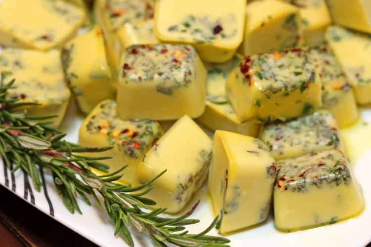 frozen herbs plate closeup