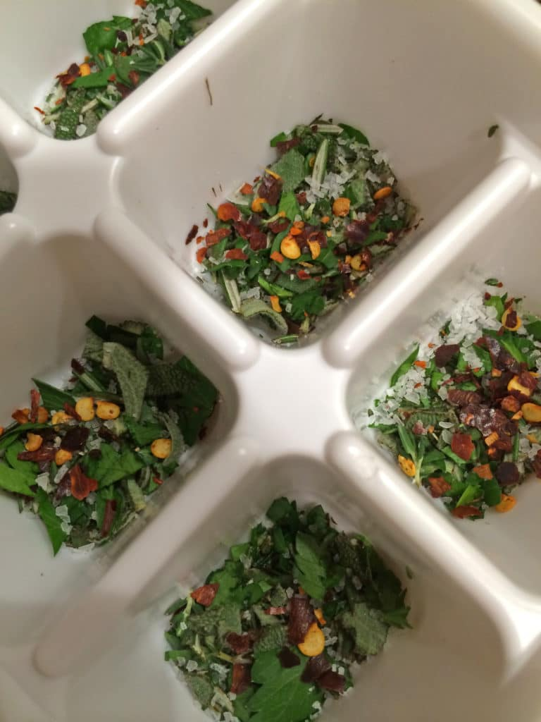 herb in cube trays