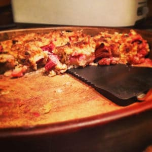 rhubarb crisp in baking dish