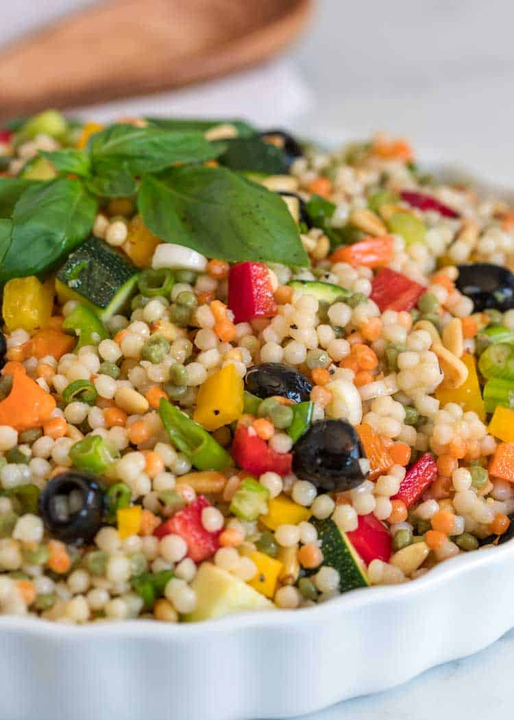 close up of Couscous Salad in white plate