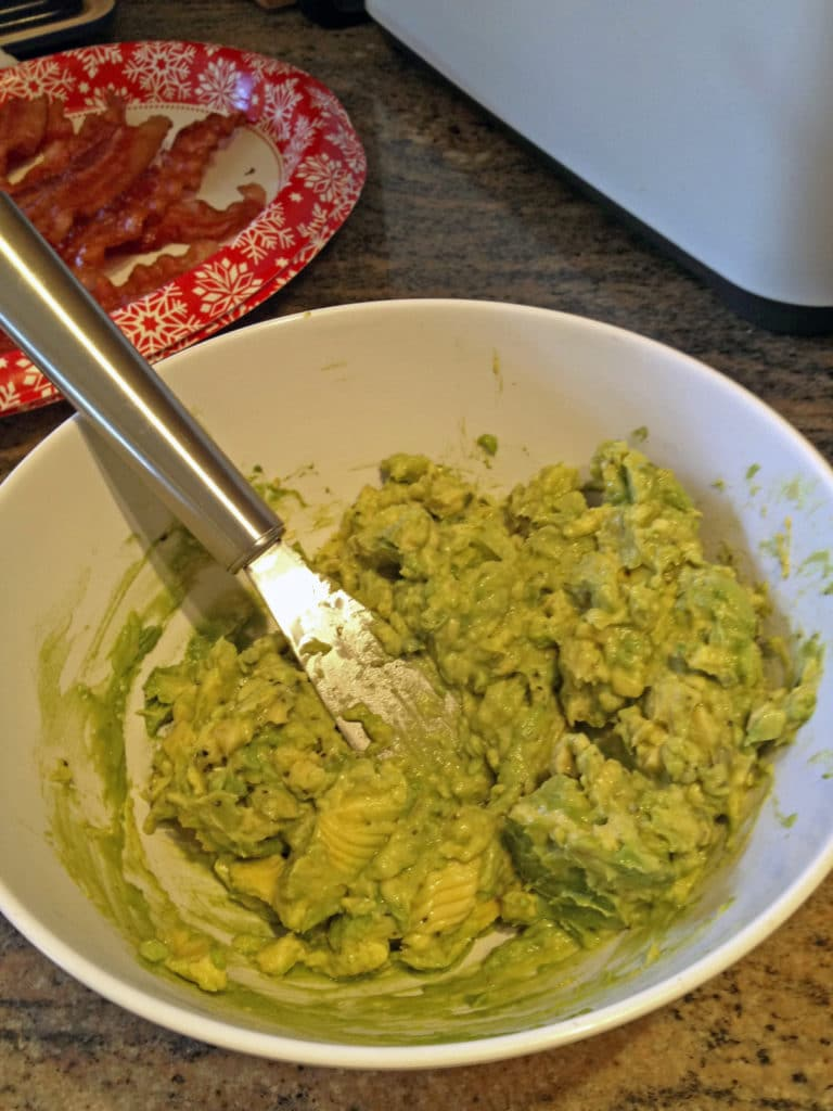mashed avocados