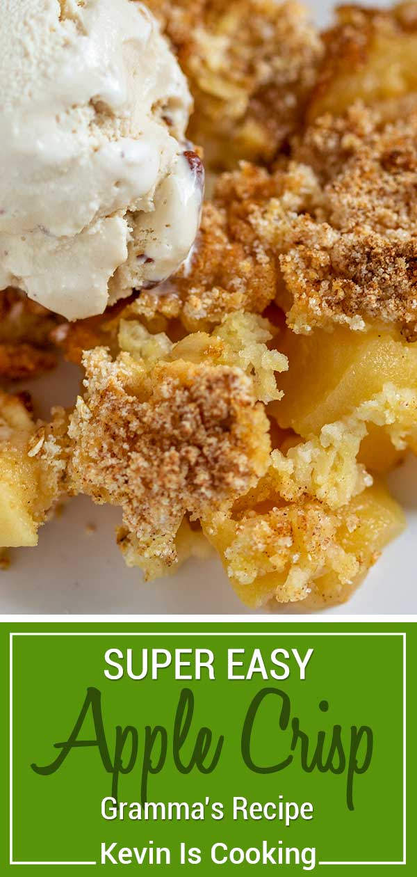 This has to be the easiest apple crisp recipe! Made using peeled Granny Smith apples, this has a crunchy, buttery cinnamon topping using basic pantry items. #apple #dessert #crisp