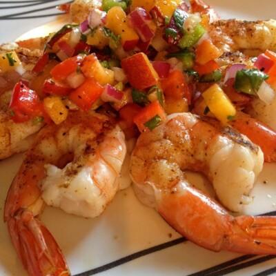 Grilled Shrimp with Peach Salsa