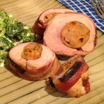 Stuffed Pork Tenderloin Wrapped in Bacon