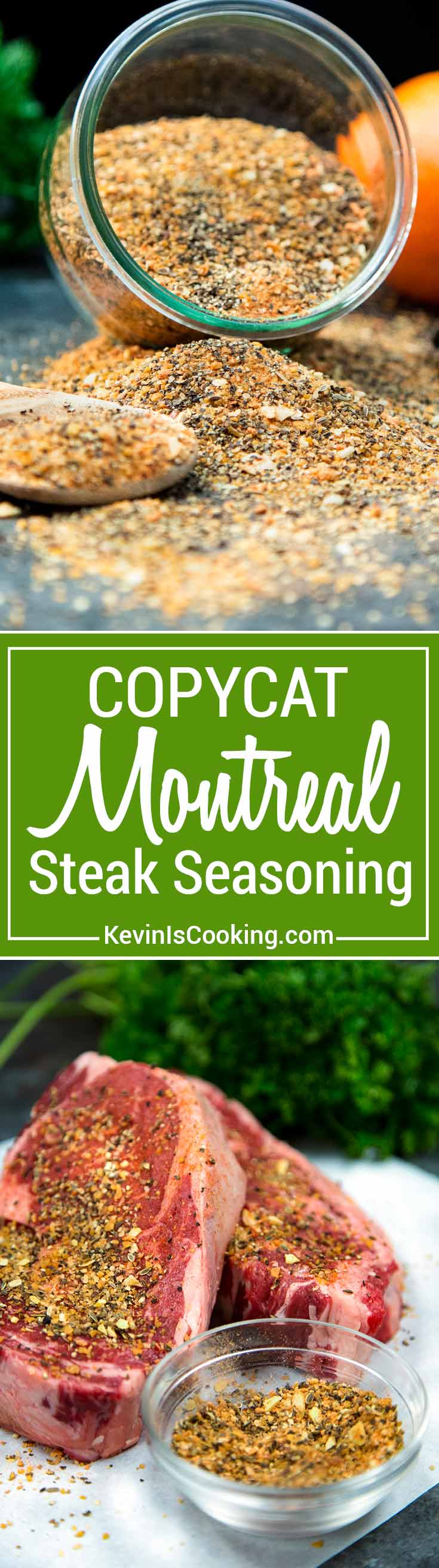 This Copycat Montreal Seasoning recipe is made with most items already in your spice cabinet. Without the loaded salt, this is perfect on grilled meats.