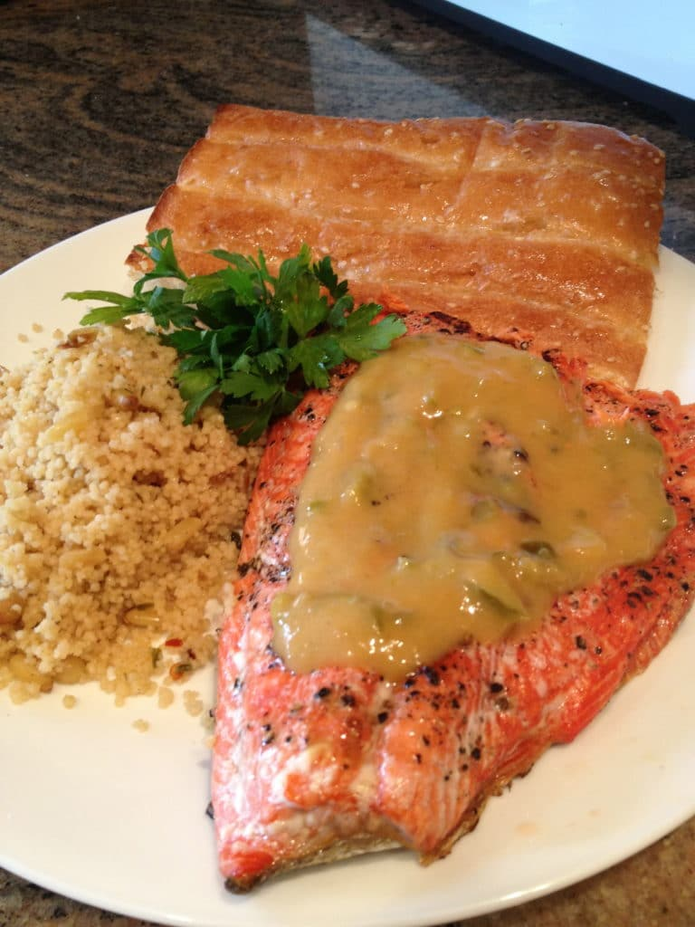 spicy-peach sauce-salmon