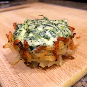 hash brown potato nests filled with cheese and spinach