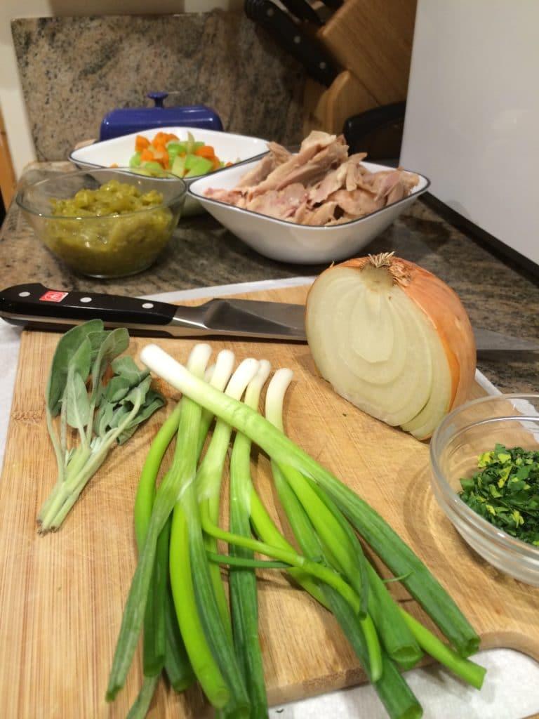 green chili chicken prep