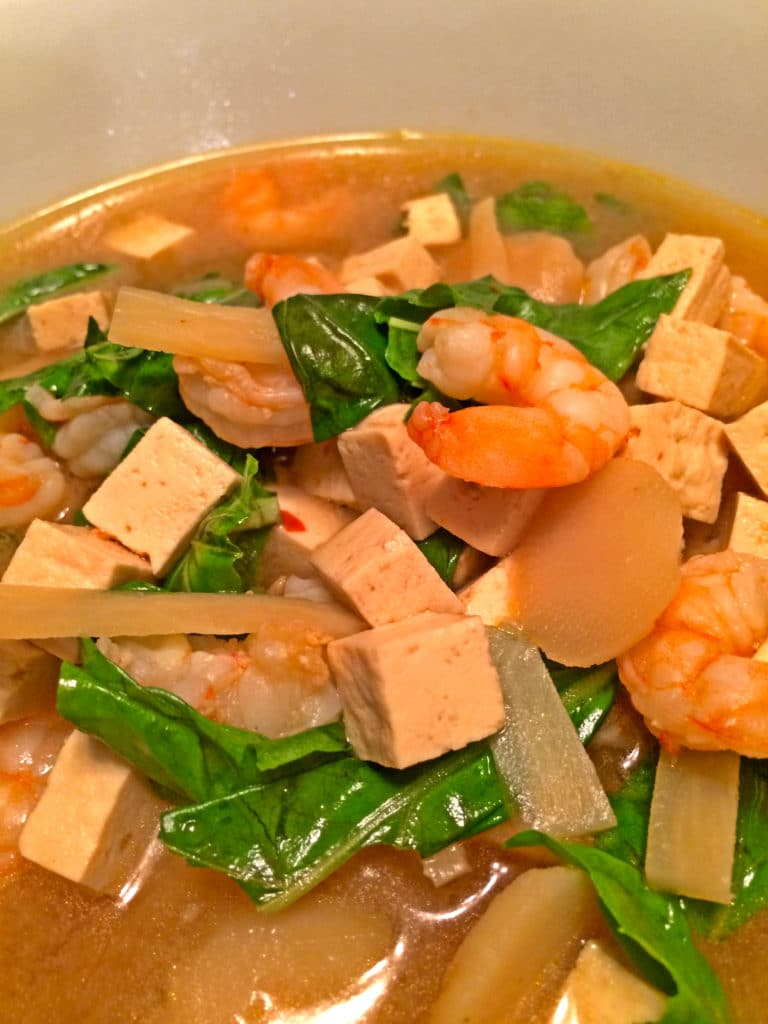 lemon basil shrimp soup closeup