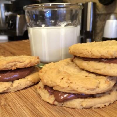 Nutella Stuffed Peanut Butter Sandwich Cookies