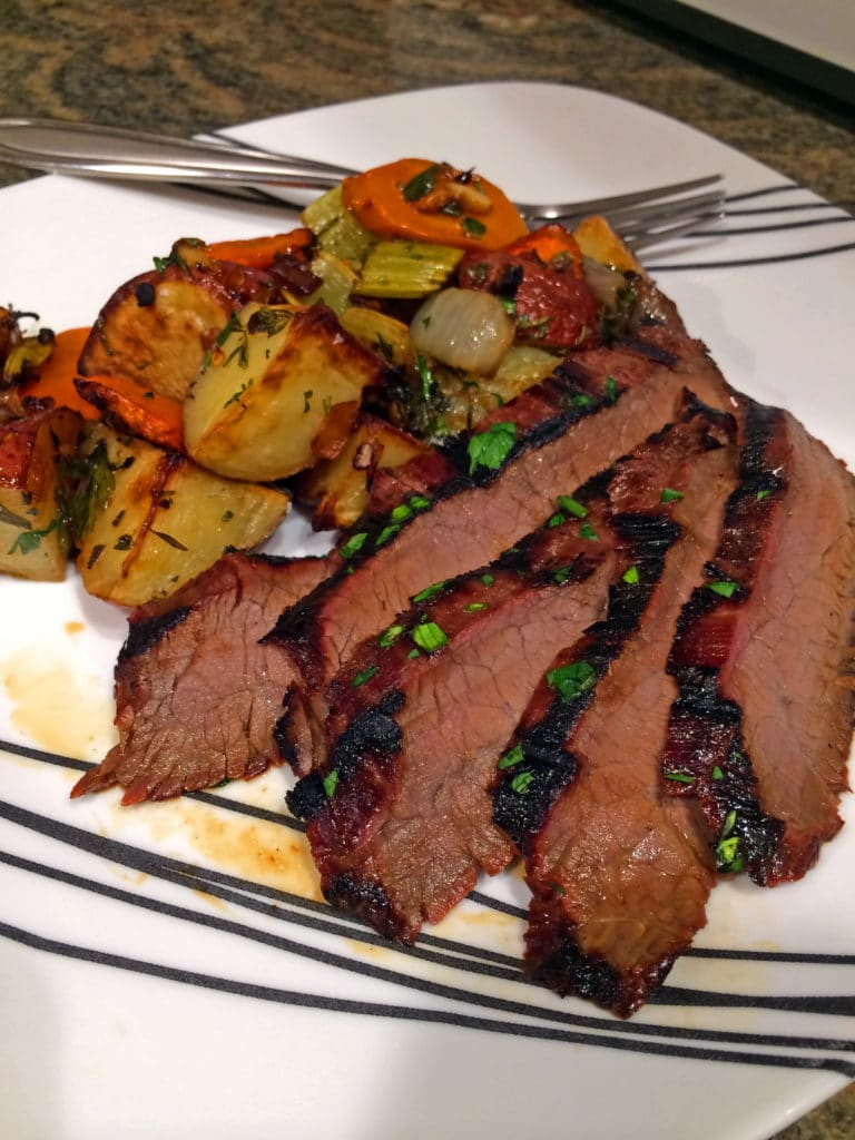 roasted vegetables grilled flank