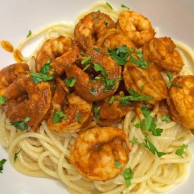 Shrimp Diablo on Pasta
