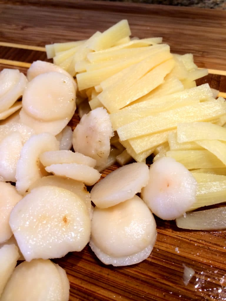 water chestnuts bamboo shoots
