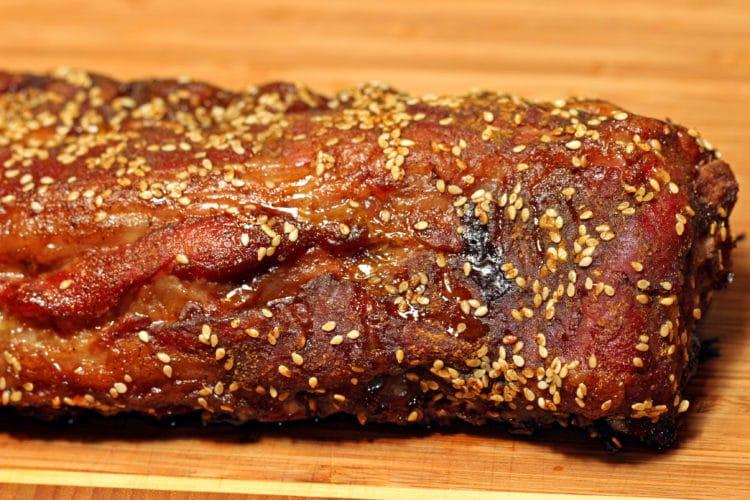 Curry Five Spice Dry Pork Ribs rack closeup