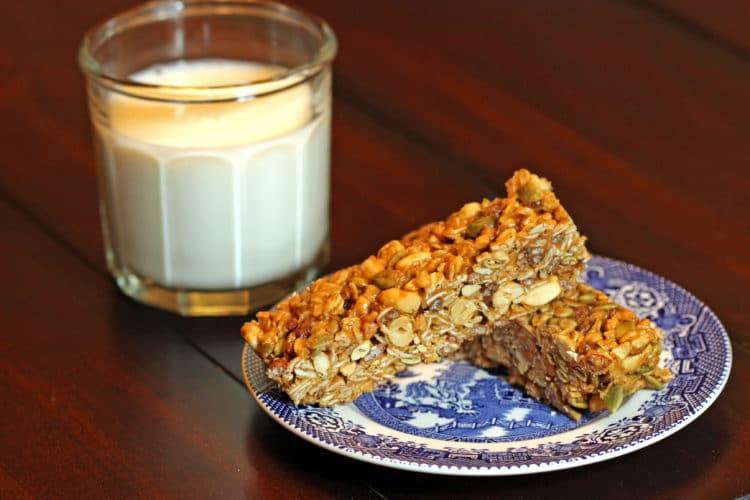 Easy Peanut Butter Granola Bars milk