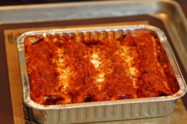 Pork and Cheese Enchiladas in Red Sauce baked