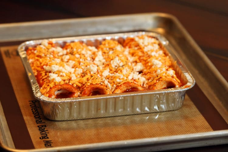 Pork and Cheese Enchiladas in Red Sauce prebake