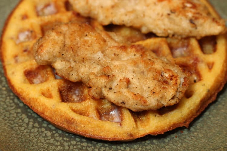 chicken waffle closeup