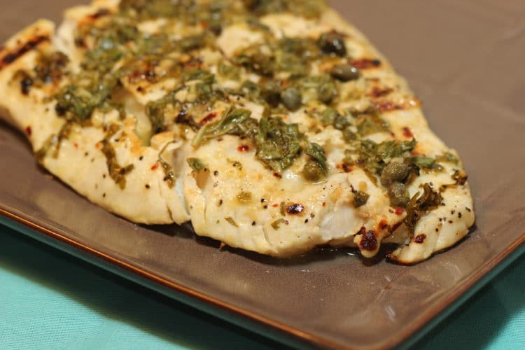 grilled halibut with lemon capers basil feature