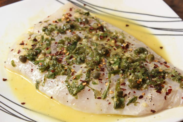 grilled halibut with lemon capers basil marinating