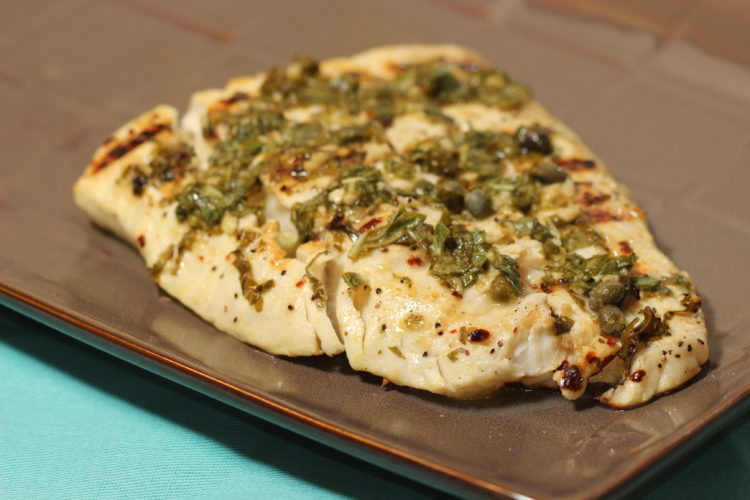 grilled halibut with lemon capers basil plate