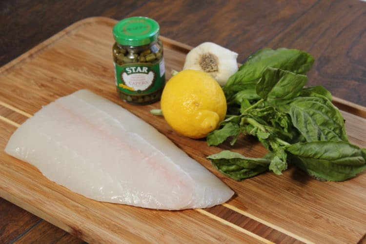 grilled halibut with lemon capers basil set up