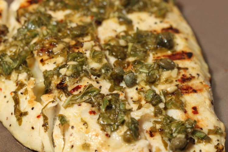 grilled halibut with lemon capers basil single
