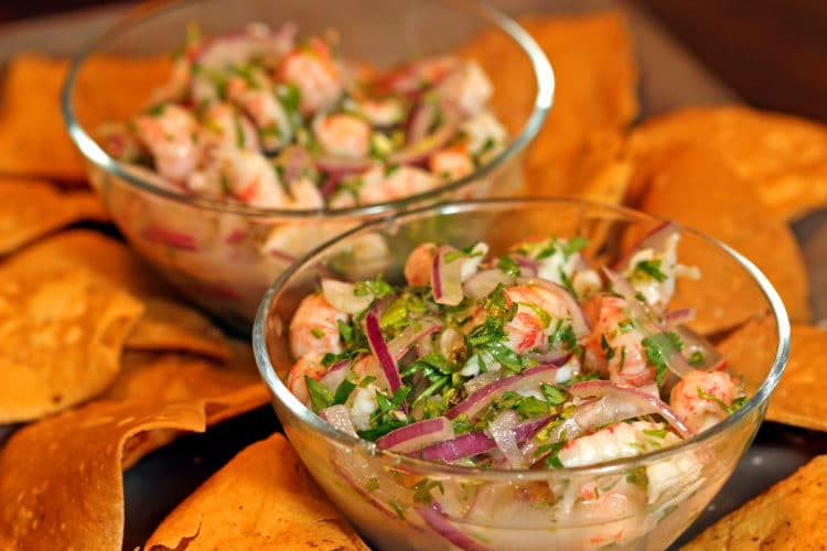 langostino ceviche and chips