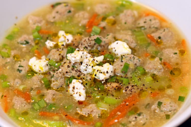 meatball soup closeup