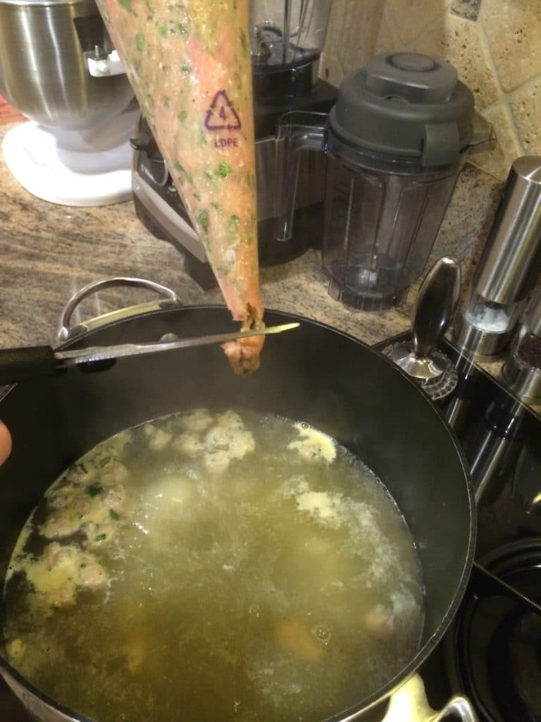 piping meatball mixture