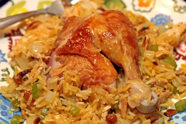 Roasted Chicken with Saffron Rice, Vegetables - keviniscooking.com