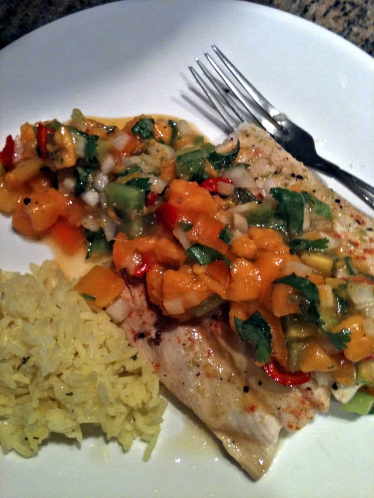 Grilled Halibut with Papaya Salsa - keviniscooking.com