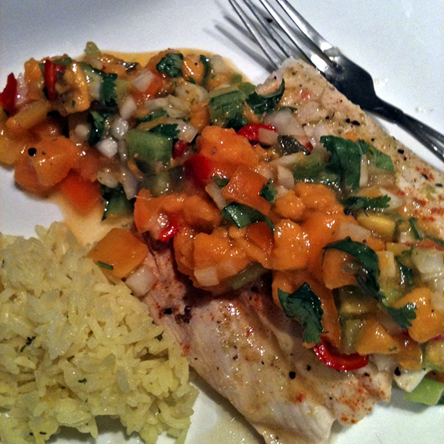 Grilled Halibut with Papaya Salsa feature