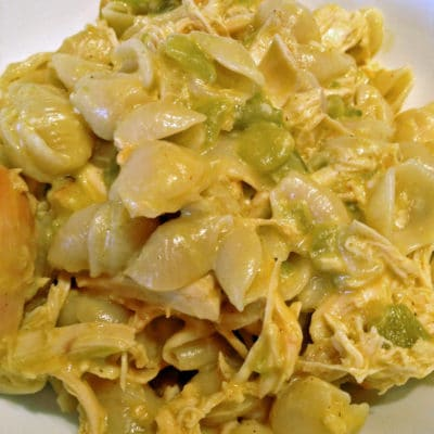 Green Chili Chicken with Pasta Shells