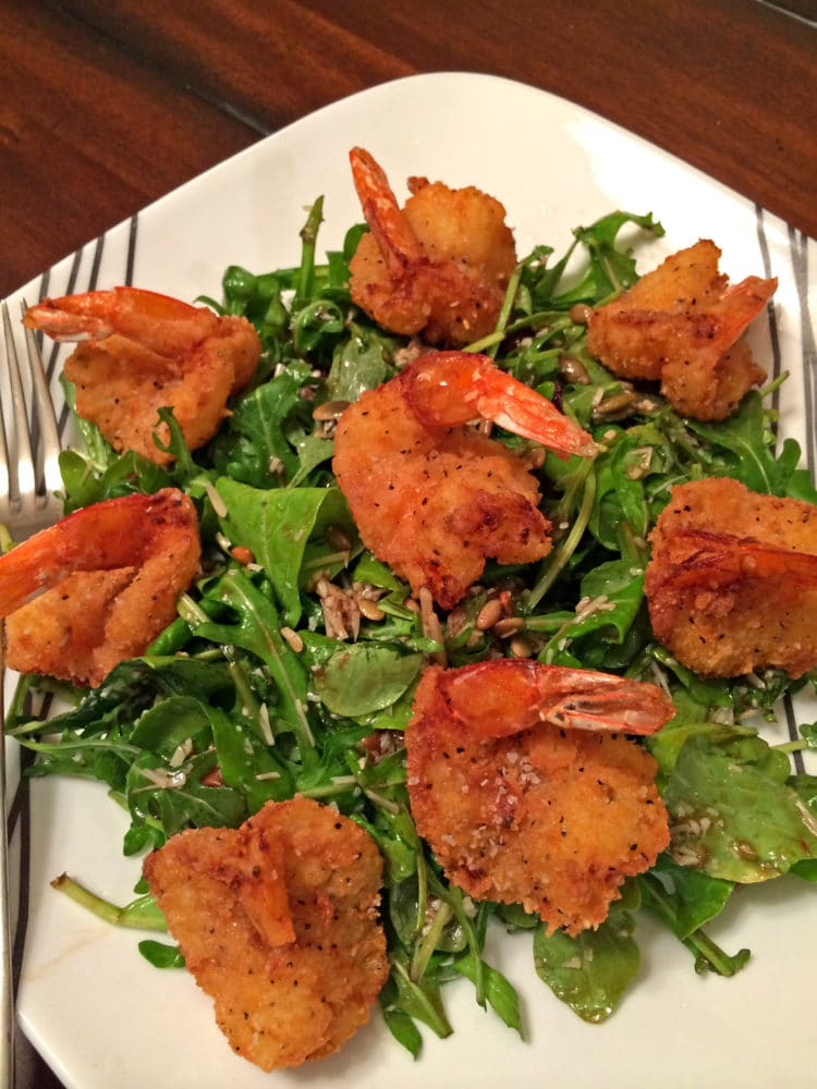... Spicy Fried Shrimp in Rice Krispie Coating on top of each plate and