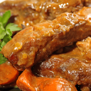 A close up of curry ribs