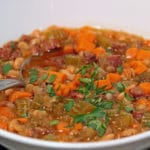 A bowl of sweet potato bean soup