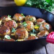 Lemon Cilantro Chicken Meatballs. www.keviniscooking.com
